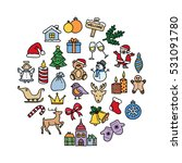 hand drawn christmas icons. new ... | Shutterstock .eps vector #531091780