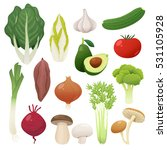 cute and tasty vegetables... | Shutterstock .eps vector #531105928