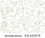 hand drawn fruits and... | Shutterstock .eps vector #531105979
