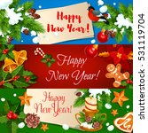 new year banners set. holly... | Shutterstock .eps vector #531119704