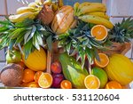 Pile Of Tropical Fruits With...