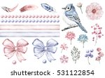 Set Cute Watercolor Elements O...