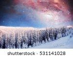 starry sky in winter snowy... | Shutterstock . vector #531141028