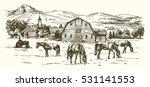 horses grazing on meadow. hand...   Shutterstock .eps vector #531141553