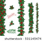 holly borders and garlands.... | Shutterstock .eps vector #531145474