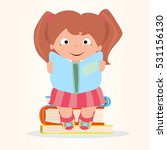 girl is reading a book and... | Shutterstock .eps vector #531156130