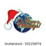 happy holiday globe hat sign... | Shutterstock . vector #531156976
