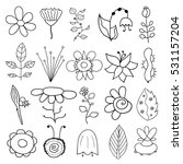 set of flower doodles | Shutterstock .eps vector #531157204