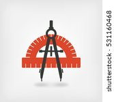 compass and protractor symbol.... | Shutterstock . vector #531160468