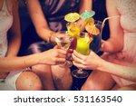 female friends toasting glasses ... | Shutterstock . vector #531163540
