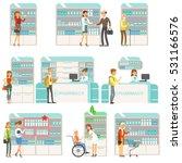smiling people in pharmacy... | Shutterstock .eps vector #531166576