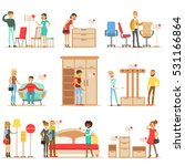 smiling shoppers in furniture... | Shutterstock .eps vector #531166864