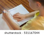 small boy writing letters in... | Shutterstock . vector #531167044