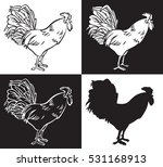 hand drawing a rooster on a... | Shutterstock .eps vector #531168913