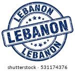 lebanon. stamp. blue round... | Shutterstock .eps vector #531174376