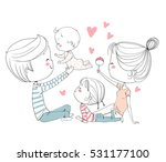 happy family. mother father and ... | Shutterstock .eps vector #531177100