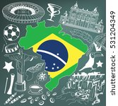 travel to brazil doodle drawing ... | Shutterstock .eps vector #531204349