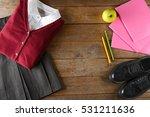 school uniform on wooden... | Shutterstock . vector #531211636
