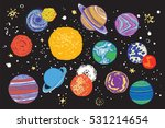space planets vector color set | Shutterstock .eps vector #531214654