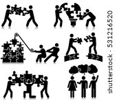 teamwork puzzle solving icon set | Shutterstock .eps vector #531216520