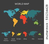 world map with continents. map... | Shutterstock . vector #531216628