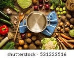 cooking   empty pot with autumn ... | Shutterstock . vector #531223516
