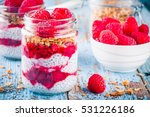 chia pudding with raspberry... | Shutterstock . vector #531226186