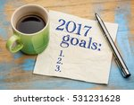 2017 Goals List On A Stained...