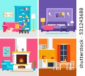 four colorful flat rooms vector ... | Shutterstock .eps vector #531243688