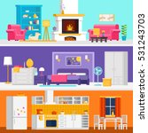 three colorful flat rooms... | Shutterstock .eps vector #531243703