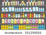shelves with products and drinks | Shutterstock .eps vector #531250033