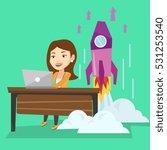 young caucasian businesswoman... | Shutterstock .eps vector #531253540