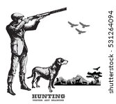 hunting with dog.hand drawn... | Shutterstock .eps vector #531264094