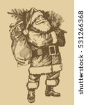 santa claus etching style... | Shutterstock .eps vector #531266368