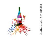 colorful wine bottle with tree... | Shutterstock .eps vector #531281404