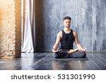 yoga. young caucasian yoga... | Shutterstock . vector #531301990