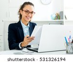 cheerful business lady sitting... | Shutterstock . vector #531326194