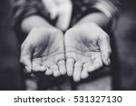 two beggar hands palms up.poor... | Shutterstock . vector #531327130