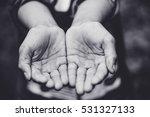 Two Beggar Hands Palms Up.poor...