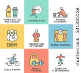 icons set of fitness  training... | Shutterstock .eps vector #531335536