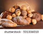many diverse bread on a wooden... | Shutterstock . vector #531336010