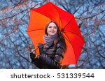 beautiful young girl with a red ... | Shutterstock . vector #531339544