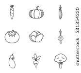 fresh vegetables icons set.... | Shutterstock . vector #531354220