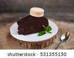 a piece of chocolate cake with... | Shutterstock . vector #531355150