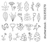 set of flower doodles   Shutterstock .eps vector #531355270