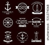 set of vintage retro nautical... | Shutterstock .eps vector #531374068