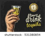 male hand holding glass tequila ... | Shutterstock .eps vector #531380854