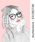 vector beautiful girl with... | Shutterstock .eps vector #531382738