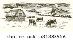 cows grazing on meadow. barn on ... | Shutterstock .eps vector #531383956
