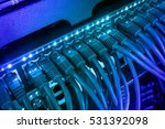 Server Rack With Blue Internet...
